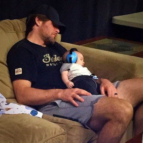"""The father-son pair took a little nap together during """"Isaiah's first band rehearsal"""" in June."""