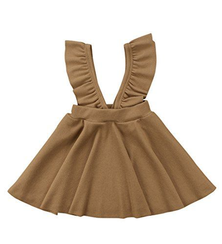 ZAXARRA Toddler Baby Girls Velvet Suspender Skirt Infant Ruffled Strap Overalls Dresses