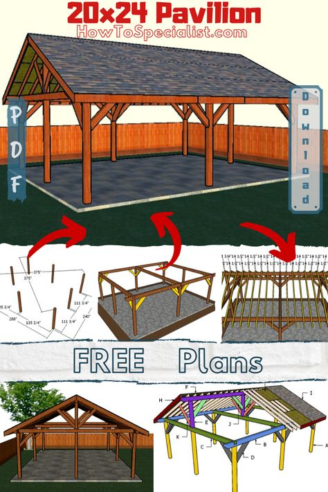 This step by step woodworking project is about how to build a rectangular pavilion - free diy plans. I have designed this large backyard pavilion, so you can create a nice covered area for outdoor hanging out with family and friends. Backyard Pavilion, Outdoor Pavilion, Backyard Patio Designs, Large Backyard, Backyard Projects, Outdoor Projects, Backyard Landscaping, Diy Projects, Landscaping Ideas
