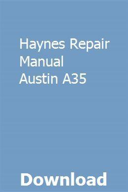 Haynes Repair Manual Austin A35 Repair Manuals Chilton Repair