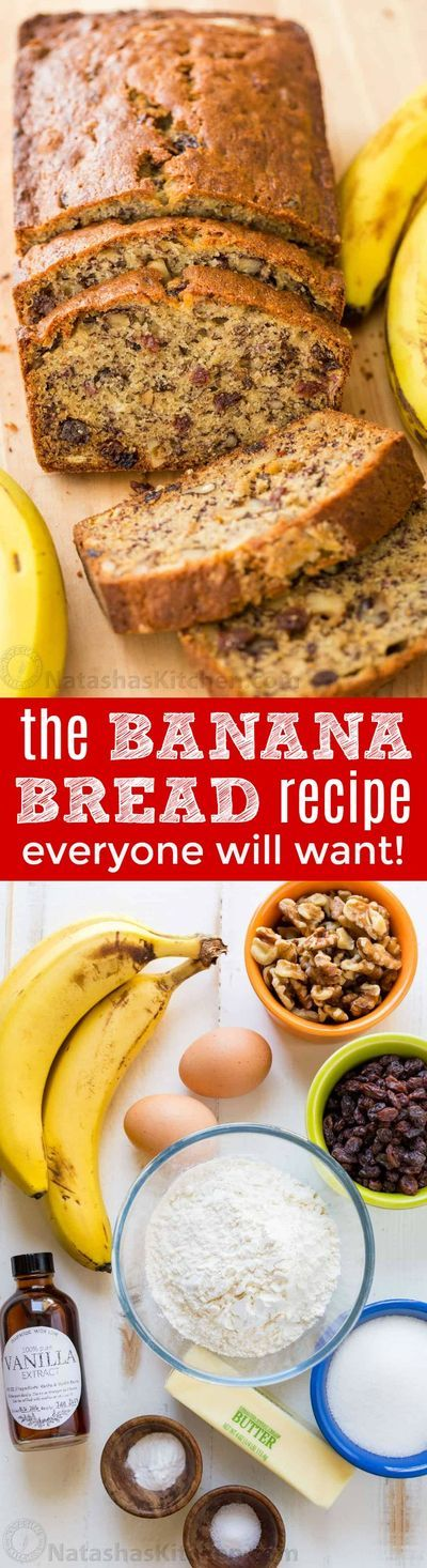 This Banana Bread Recipe is loaded with ripe bananas, tangy sweet raisins and toasted walnuts making it a banana nut bread. One of our favorite ripe banana recipes and even better with overripe bananas! This banana nut bread is super moist, easy and makes
