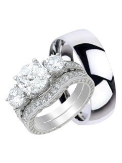 47f07f02289d53 LaRaso & Co - His and Hers Wedding Ring Sets Matching Bands for Him Her  Silver Titanium - Walmart.com