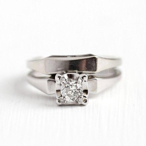 Sale Wedding Ring Set Dated 1957 Vintage Mid Century 14k White Gold 1 4 Carat Diamond Size 5 1 2 Wedding Ring Sets Antique Engagement Rings Wedding Rings
