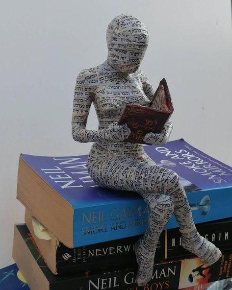 me ~ Reading woman, papier mache, collectible item, ooak sculpture, shelf decor