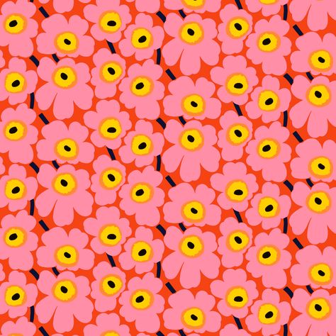 Pieni Unikko fabric from Marimekko by Maija Isola Textile Pattern Design, Surface Pattern Design, Textile Patterns, Pattern Art, Graphic Design Pattern, Graphic Patterns, 60s Patterns, Cool Patterns, Flower Patterns