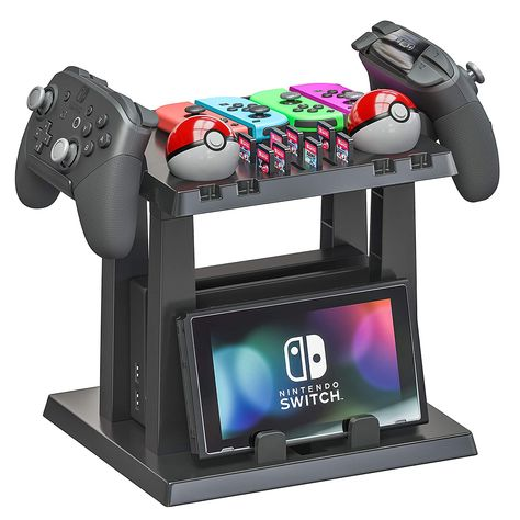 Skywin Organizer and Stand for Nintendo Switch - Storage Stand and Organizer Compatible with Nintendo Switch Accessories - Organizes Dock, Game Cards, Joy Cons, Pro Controllers, Grip, Games, Console Visit the Skywin Store Nintendo Switch Accessories, Gaming Accessories, Control Nintendo, Video Game Storage, Video Game Organization, Nintendo Switch 2017, Nintendo Switch Games List, Nintendo Room, Nintendo Consoles