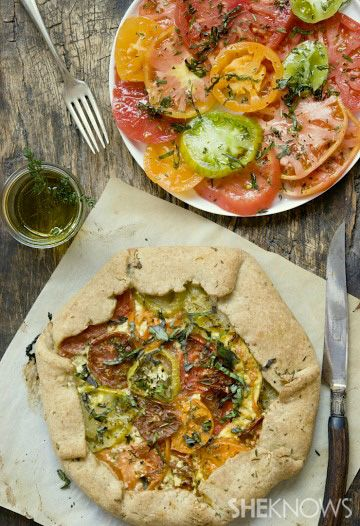 Heirloom tomato galette. Sub almond flour crust to made SCD safe