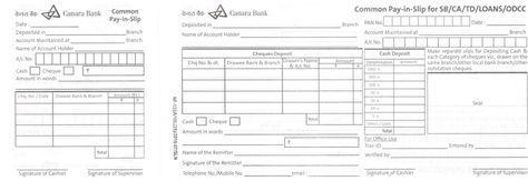Canara Bank Deposit Slip Printable Lined Paper Standard Operating Procedure Examples Excel Templates