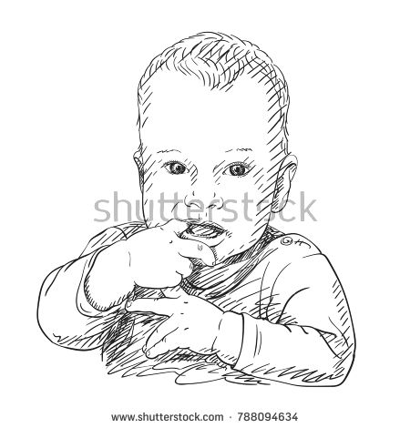 Sketch Of Ten Month Old Baby Boy Sucking His Finger Hand Drawn
