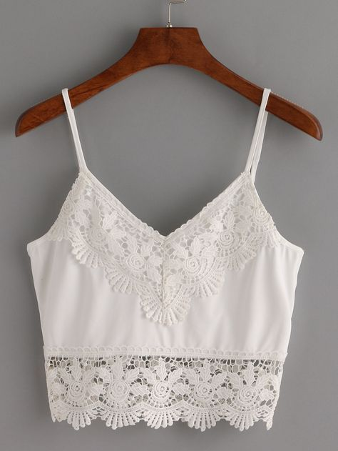 outlet store sale classic styles new list Top ribete de crochet crop tirante fino -blanco-Spanish ...