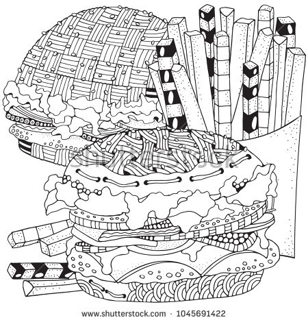 Fast Food Burgers French Fries Coloring Book Page Black And White Vector Doodle Fast Food Pattern Coloring Books Food Coloring Pages Color