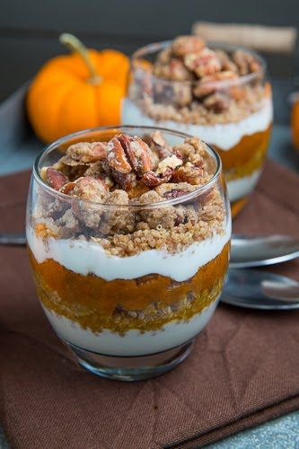 Pumpkin Pie Quinoa Parfait with Pecan Streusel