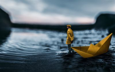 Download Wallpapers 4k Lonely Man Coast Paper Ship Creative Besthqwallpapers Com Paper Ship Miniature Photography Coast