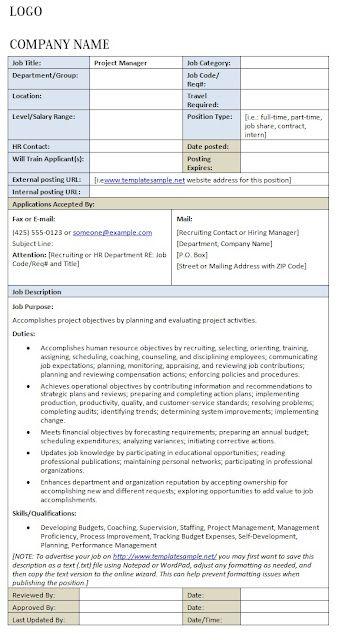 hiringmonster Job Descriptions Project Management - project manager job description