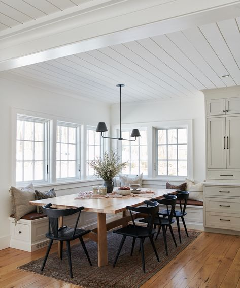 My Home Black wooden chairs at a blond wood dining table in a white dining nook boasting corner wind Dining Room Design, Dining Area, Dining Sets, Kitchen Design, Booth Dining Table, Built In Dining Room Seating, Corner Bench Dining Table, Table Legs, Black Wooden Chairs