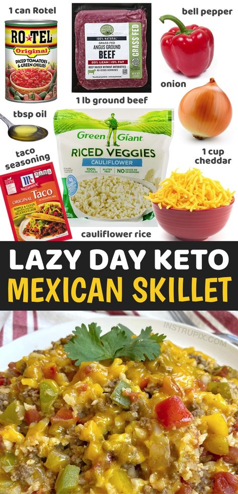 You've got to love ground beef, especially if you're on a healthy low carb or keto diet. It's so simple to make for busy weeknight meals! I absolutely love it in this cheesy Mexican skillet. It's quick and easy to make in just one pan with frozen cauliflower rice. You simply mix in a little taco seasoning, ground beef, Rotel, onion, bell pepper and cheddar cheese. You can also garnish with anything else you'd like such as avocado or sour cream. So yummy and easy to make for dinner!