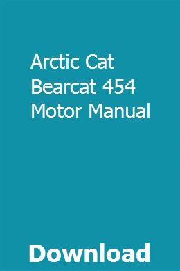 Arctic Cat Bearcat 454 Motor Manual Riding Lawn Mowers Mower Manual