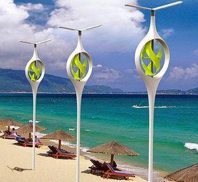 Proyecto Para Iluminar Las Playas De Noche Con Energia Eolica Energias Renovables Y Ambiente Lampara De Playa Energia Eolica Generador De Energia