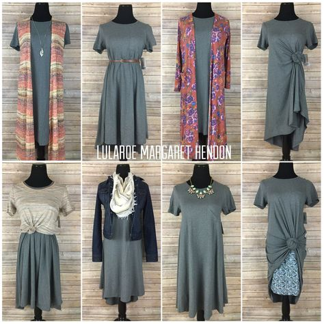 LuLaRoe Carly dress styled 8 different ways. So many great styles with a few LuLaRoe and non LuLaRoe pieces. The pieces included in this photo are Carly, Joy, Sarah, Classic and Cassie.