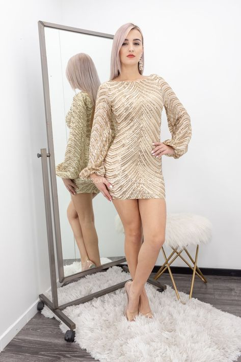 Emery Open Back Sequin Long sleeve Mini Dress