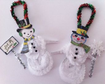 SNOWMEN let it snow vintage style CHENILLE ORNAMENTS set of 2 feather tree
