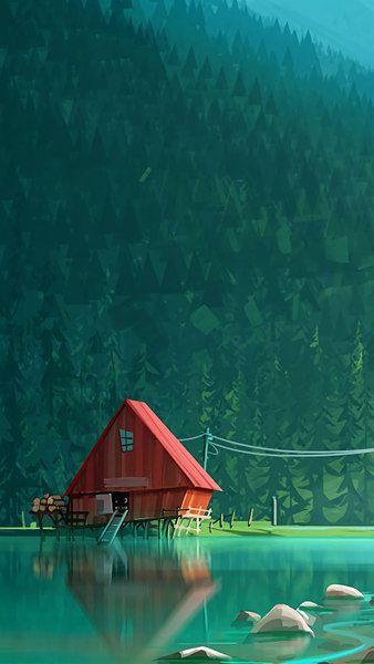 Lake Cabin Forest Digital Art 4k 3840x2160 1920x1080 2160x3840 1080x1920 Wallpaper Cool Wallpapers For Phones Art Wallpaper Digital Art