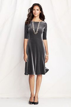 Women's Elbow Sleeve Velvet Dress from Lands' End-this could be used for more winter months.