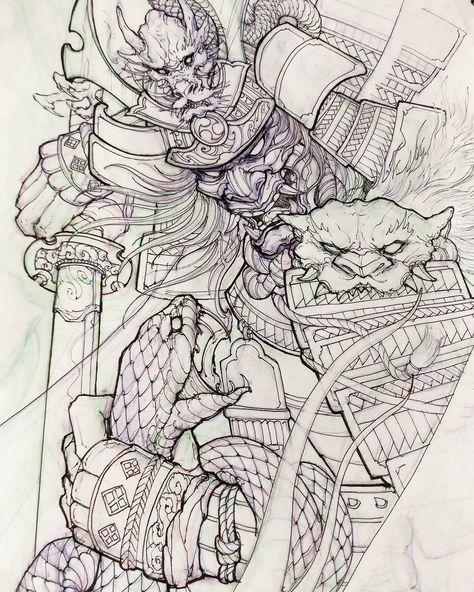 Samurai and snake. #chronicink #asiantattoo #asianink #irezumi #tattoo #sketch #illustration #drawing #samurai #snake #irezumicollective
