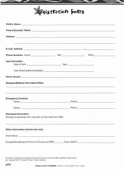 Printable Registration Form Template Fresh Church Nursery Forms Thenurseries Registration Form Book Report Templates Survey Template