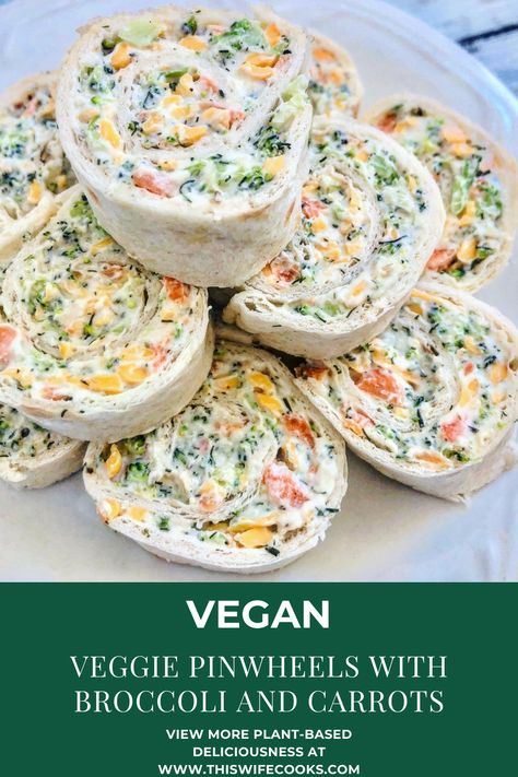 Vegan Veggie Pinwheels with Broccoli and Carrots - This Wife Cooks Going Vegetarian, Vegetarian Breakfast, Vegetarian Dinners, Vegetarian Recipes, Vegetarian Sandwiches, Vegetarian Cooking, Veggie Recipes, Appetizer Recipes, Wrap Recipes