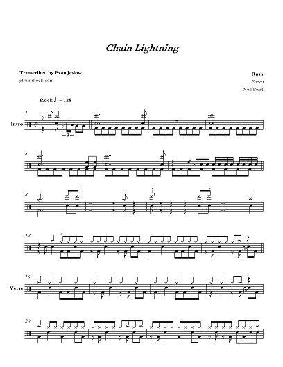 Drum Tab Sheet Music Transcription For Chain Lightning By Rush