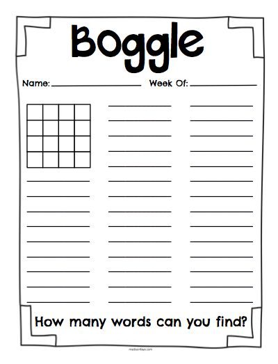 Free Printable Boggle Worksheets