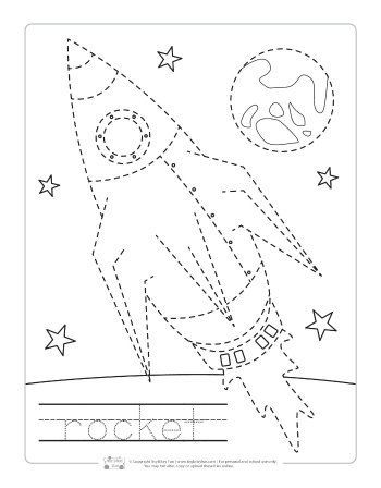 Space Tracing Worksheets Itsybitsyfun Com Space Theme Preschool Space Preschool Space Crafts Preschool