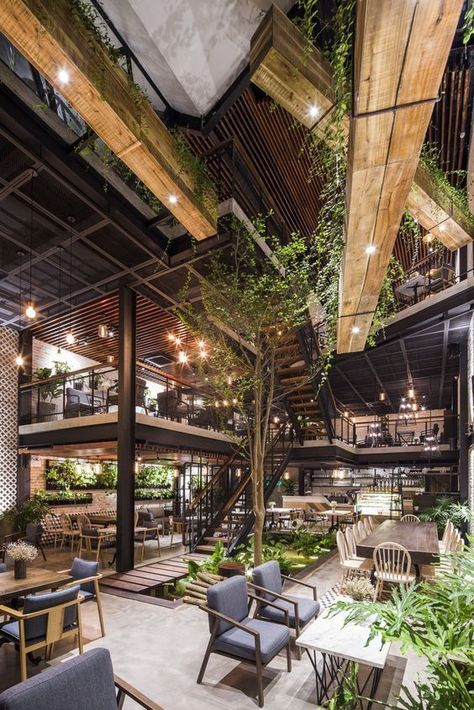Galeria de Café An'garden / Le House - 14 - # café . - Galeria de Café An'garden / Le House – 14 – - Cafe Interior Design, Cafe Design, Interior Architecture, Garden Architecture, Bistro Interior, Industrial Architecture, Sustainable Architecture, Residential Architecture, Wood Design
