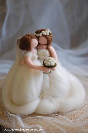 Spose arcobaleno in lana fiaba ispirazione Waldorf
