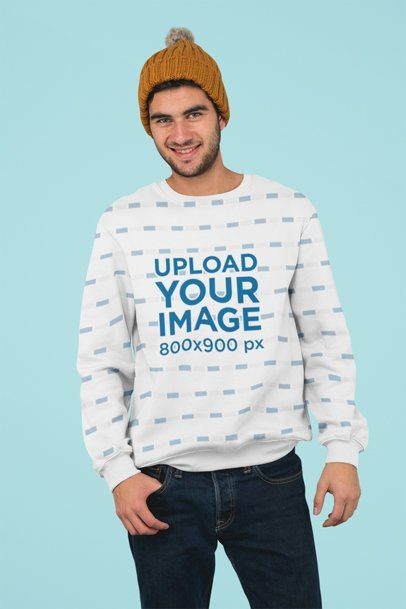 Placeit - Sublimated Crewneck Sweatshirt Mockup of a Man Standing Against a Plain Background