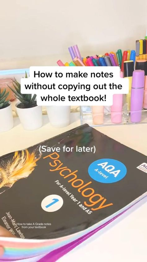 How to take A Grade notes from your textbook | Study tips for revision, aesthetic note taking inspo