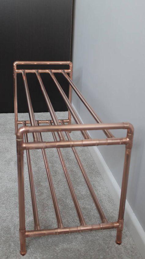 Copper pipe shoe rack – Handmade with industrial fittings – Shoe storage/organisation Kupferrohr Schuhregal mit industriellen Armaturen Schuh