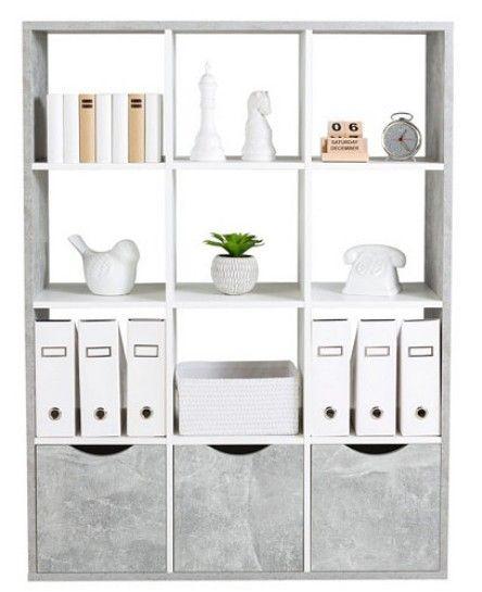Etagere L 110 Cm Quadro 12 Cases Blanc Beton But Meuble Canape