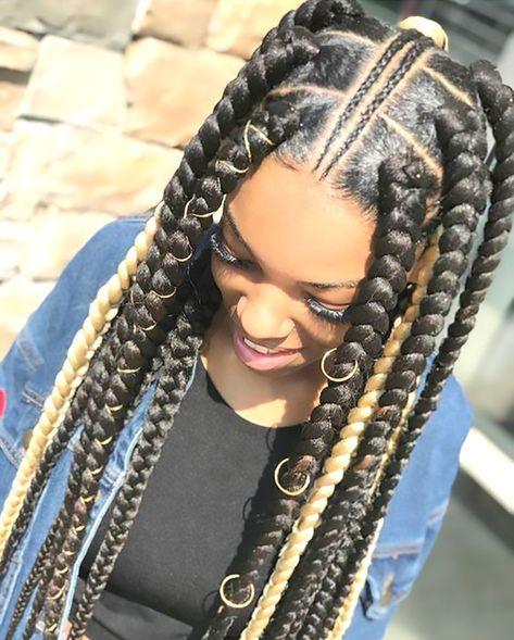 Big Braid With Rings In 2020 Afrikanische Zopfe Frisuren Afrikanische Zopfe Geflochtene Haare