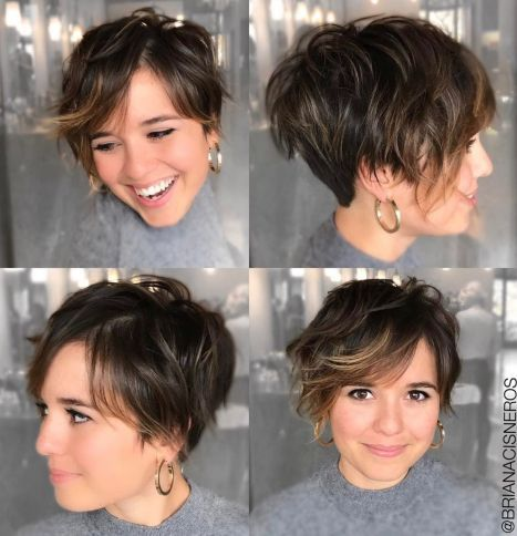 Long wavy pixie haircut