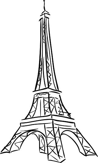 Vector Illustration Of Tower Eiffel Black And White Drawing Eiffel Tower Illustration Eiffel Tower Art Eiffel Tower Drawing