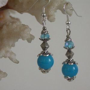 Boucles d'oreilles jade et cristal swarovski bleu , | Bijoux en ...