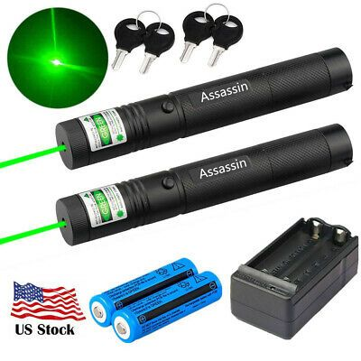 100Miles 5mw 532nm Green Laser Pointer Pen Visible Beam Light 18650 Battery USA
