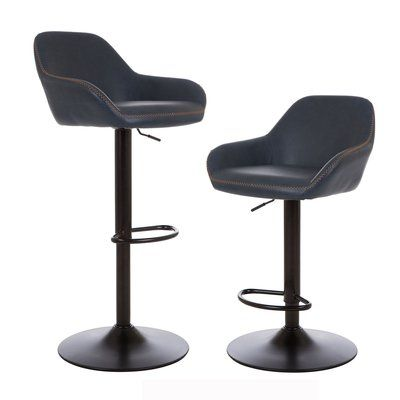 Mistana Thibodeaux Adjustable Height Swivel Bar Stool Color Deep Indigo Bar Stools Swivel Bar Stools Bar Stools With Backs