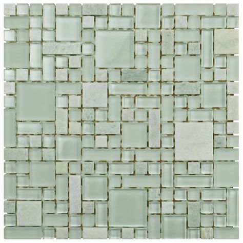 Tessera Versailles Ming 11 3 4 Inch X 11 3 4 Inch X 8 Mm Glass And Stone Mosaic Tile 9 79 Sqft Case Stone Mosaic Stone Mosaic Tile Mosaic Tiles