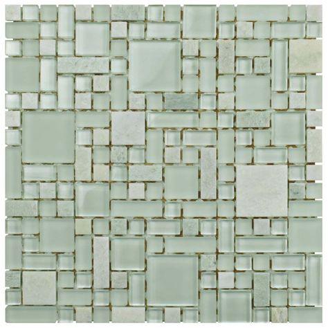 Tessera Versailles Ming 11 3 4 Inch X 11 3 4 Inch X 8 Mm Glass And Stone Mosaic Tile 9 79 Sqft Case Stone Mosaic Stone Mosaic Tile Mosaic Tiles