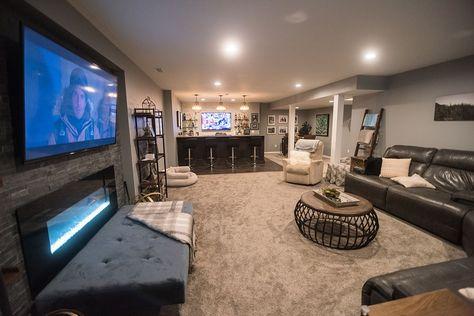 Basement Family Rooms, Cozy Basement, Basement Makeover, Basement House, Basement Renovations, Home Remodeling, Modern Basement, Basement Colors, Basement Layout