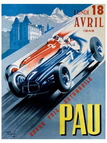 GRAND PRIX DE PAU CAR RACE AUTOMOBILE RACING FRANCE VINTAGE POSTER REPRO