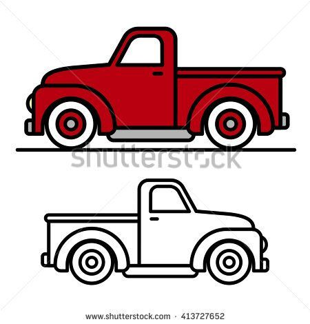 Two Cartoon Vintage Pick Up Truck Outline Drawings One Red And One Black And White In Side View Vector I Christmas Red Truck Vintage Pickup Trucks Red Truck